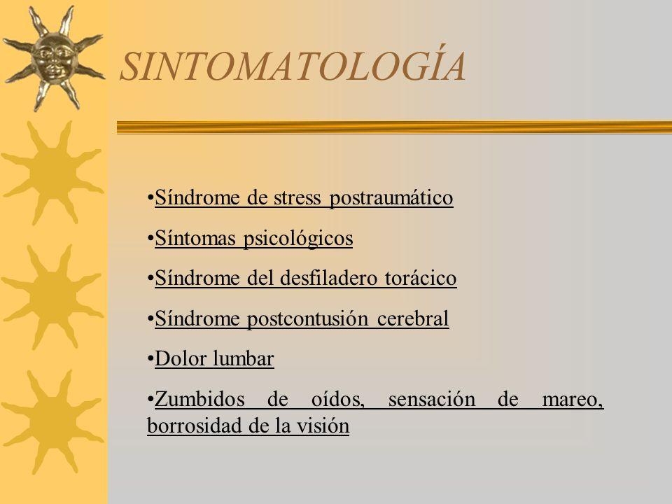 SINTOMATOLOGÍA Síndrome de stress postraumático Síntomas psicológicos