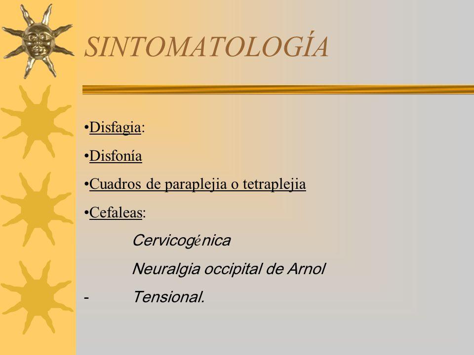 SINTOMATOLOGÍA Disfagia: Disfonía Cuadros de paraplejia o tetraplejia
