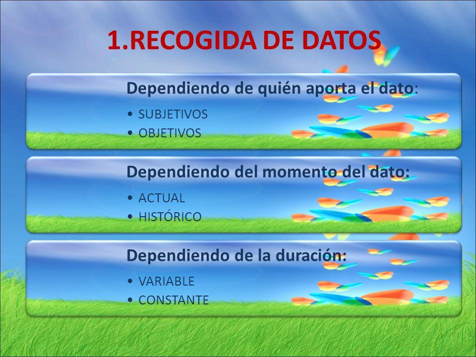 1.RECOGIDA DE DATOS Tipos de datos: