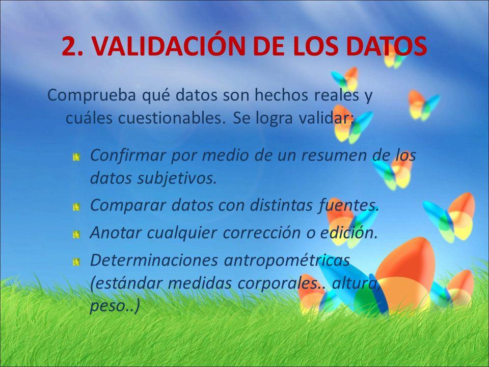 2. VALIDACIÓN DE LOS DATOS