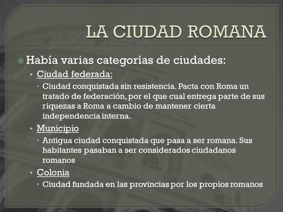 LA CIUDAD ROMANA Había varias categorías de ciudades: Ciudad federada: