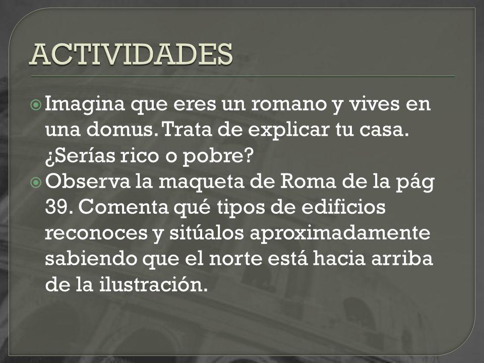 ACTIVIDADES Imagina que eres un romano y vives en una domus. Trata de explicar tu casa. ¿Serías rico o pobre