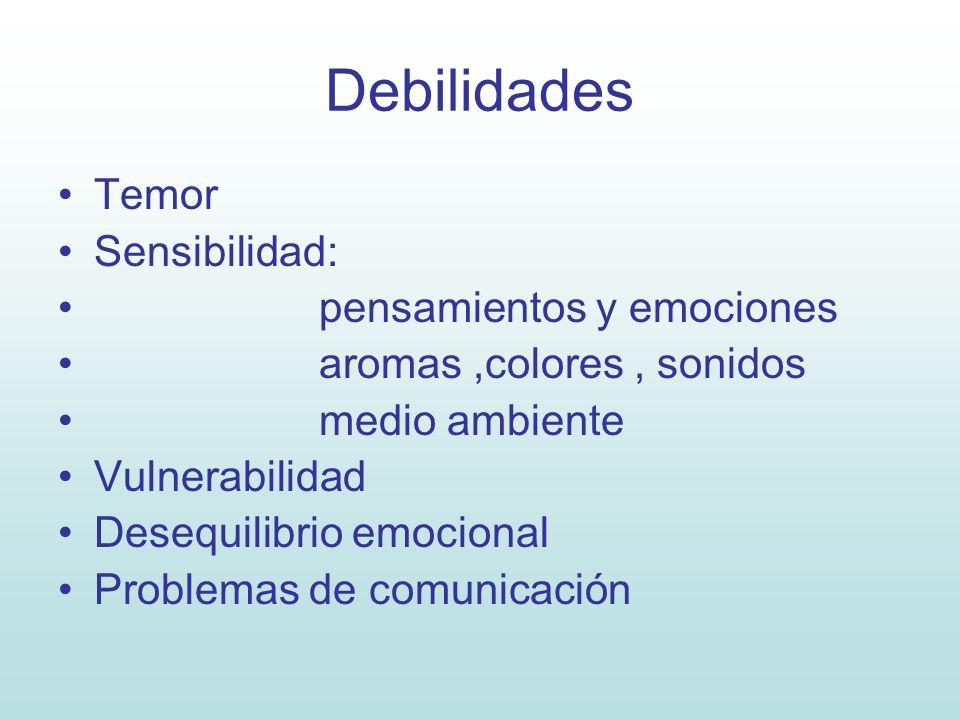Debilidades Temor Sensibilidad: pensamientos y emociones