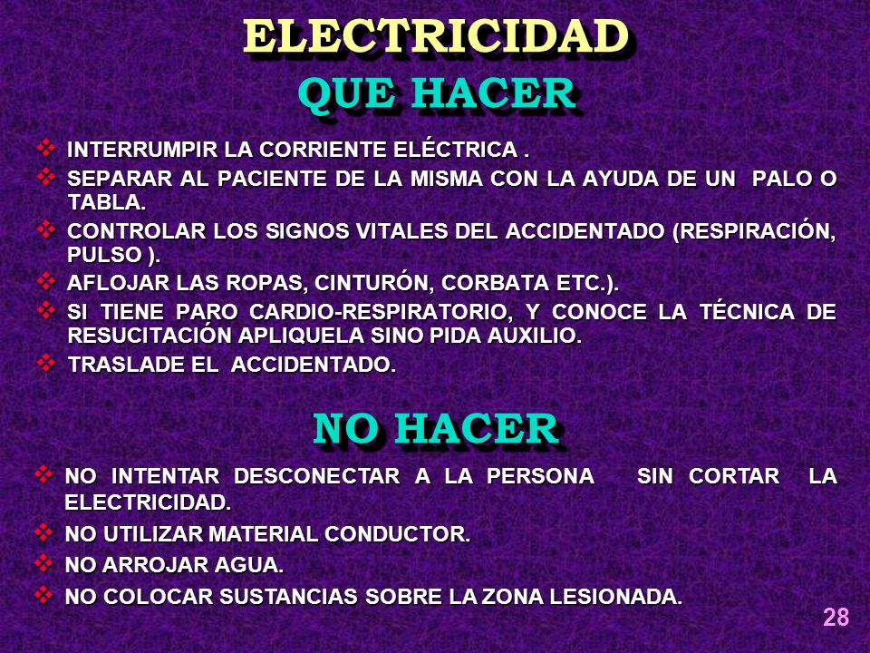 ELECTRICIDAD QUE HACER NO HACER 28