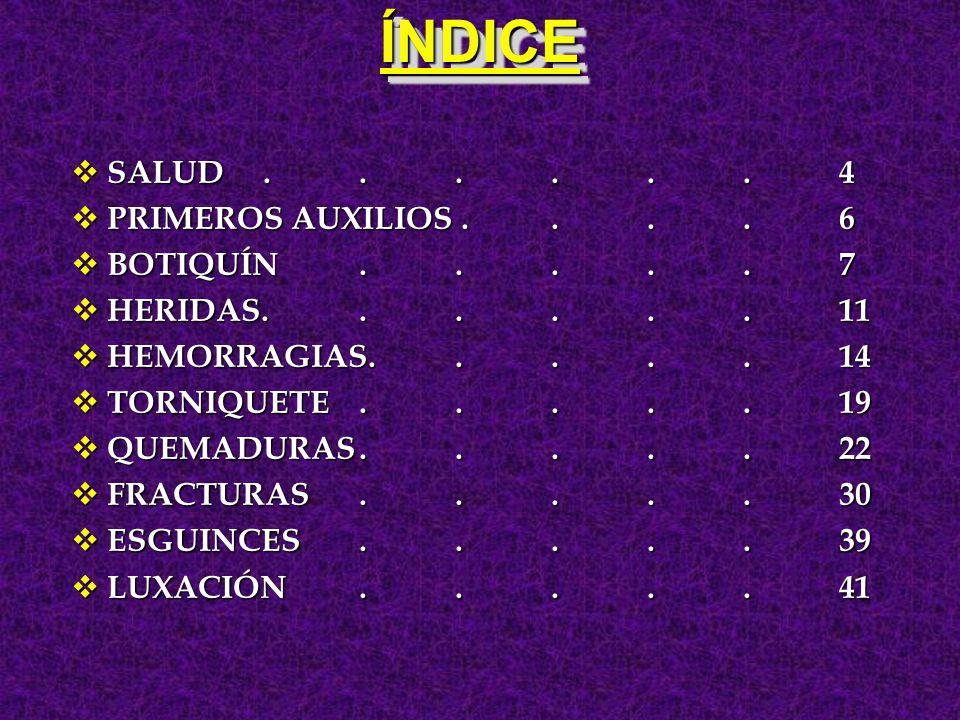 ÍNDICE SALUD . . . . . . 4 PRIMEROS AUXILIOS . . . . 6