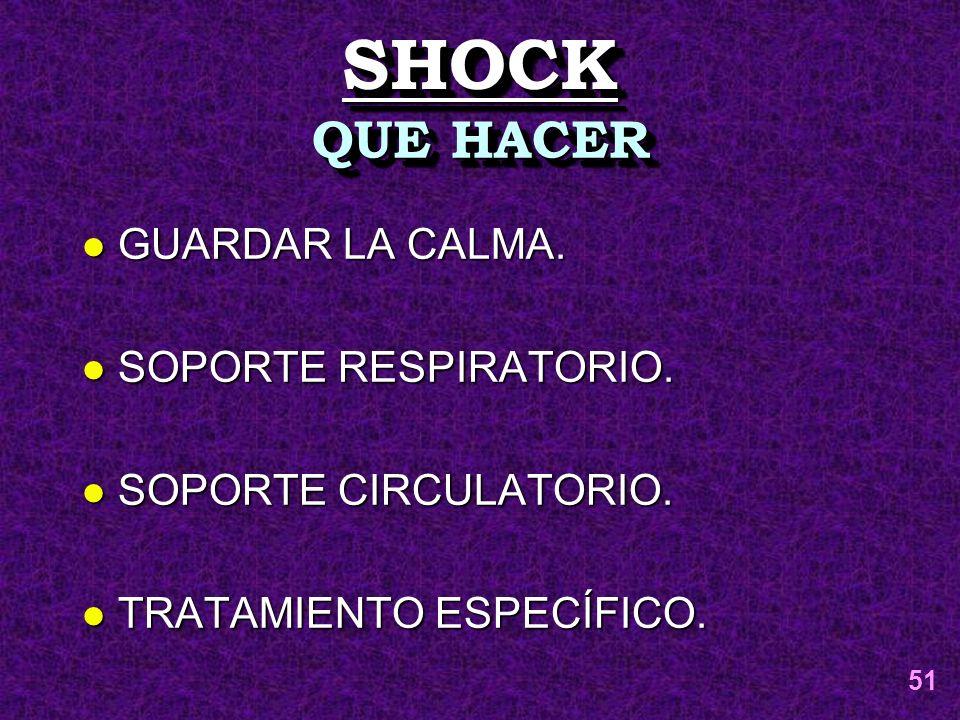 SHOCK QUE HACER GUARDAR LA CALMA. SOPORTE RESPIRATORIO.
