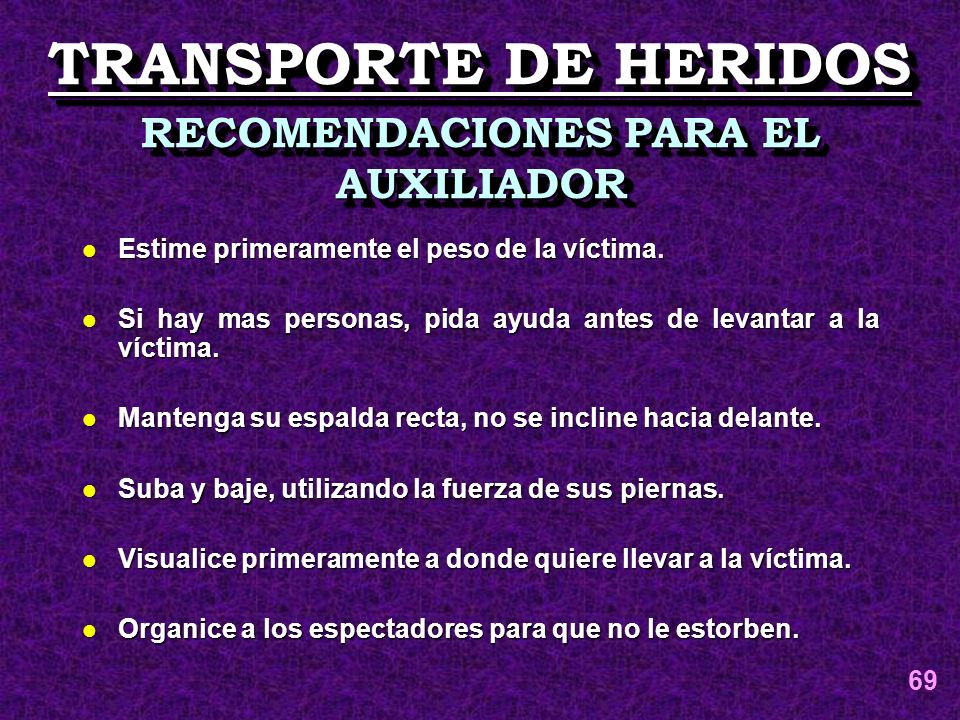 RECOMENDACIONES PARA EL AUXILIADOR