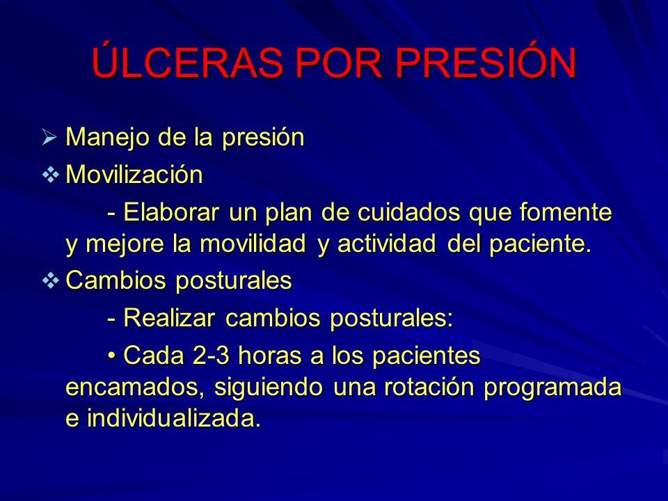 ÚLCERAS POR PRESIÓN Manejo de la presión Movilización