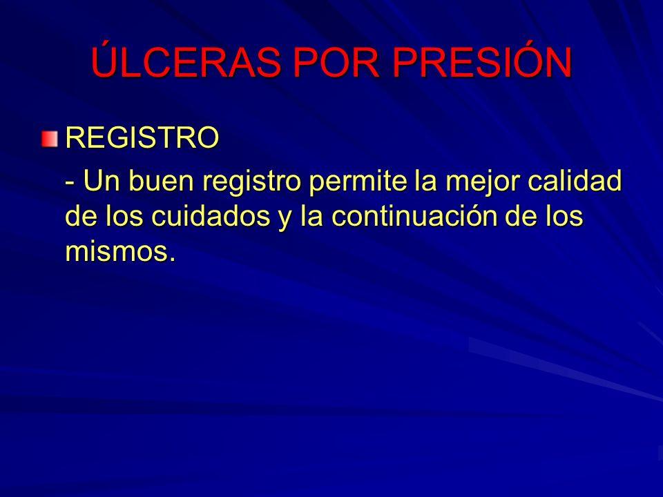 ÚLCERAS POR PRESIÓN REGISTRO