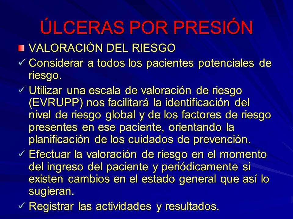 ÚLCERAS POR PRESIÓN VALORACIÓN DEL RIESGO