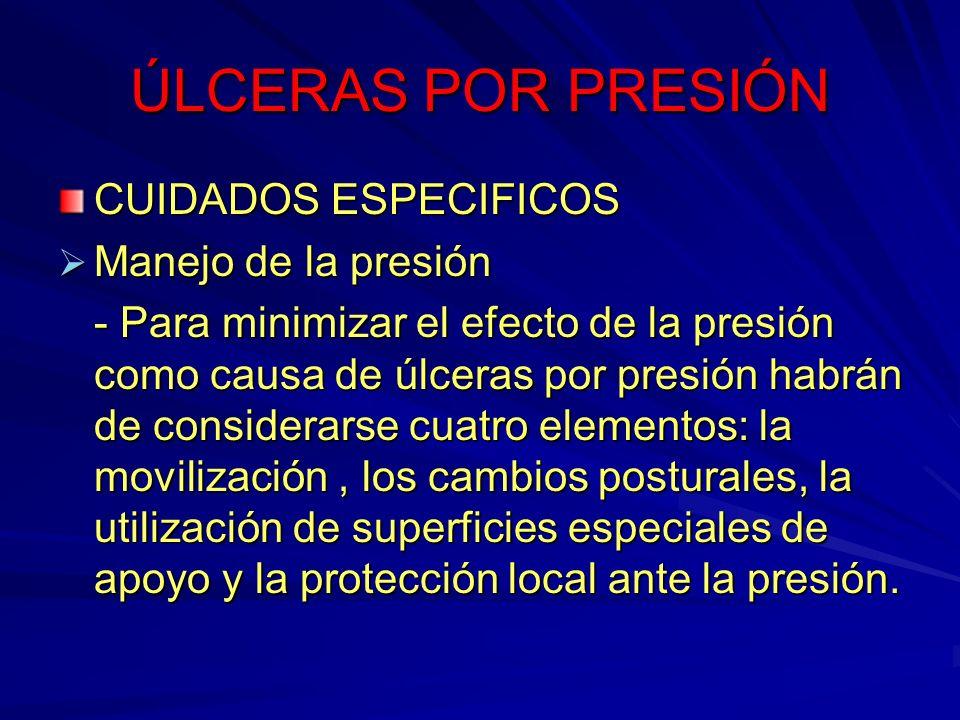 ÚLCERAS POR PRESIÓN CUIDADOS ESPECIFICOS Manejo de la presión