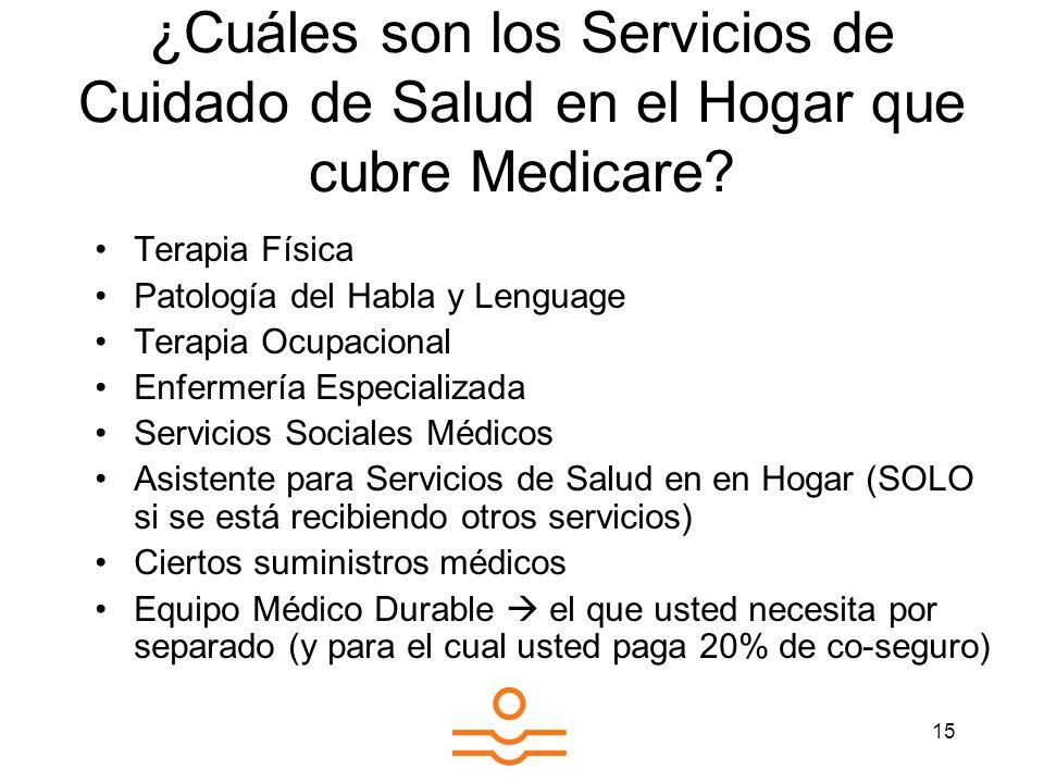 ¿Cuáles son los Servicios de Cuidado de Salud en el Hogar que cubre Medicare