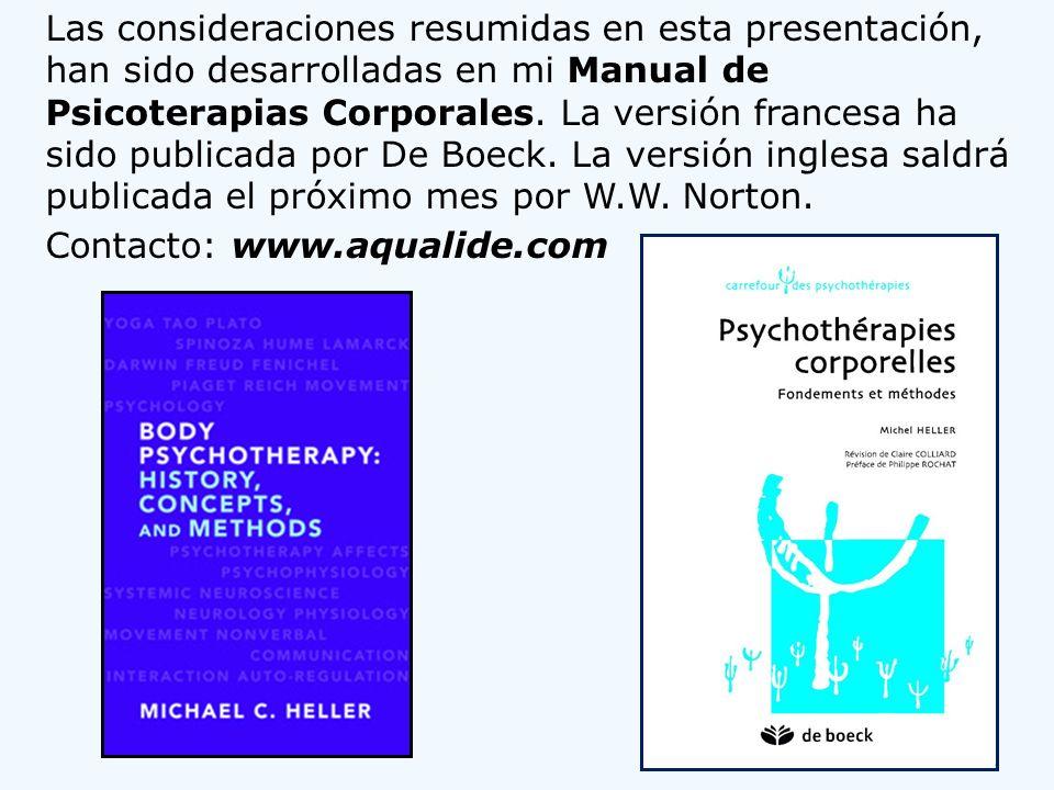 Las consideraciones resumidas en esta presentación, han sido desarrolladas en mi Manual de Psicoterapias Corporales.