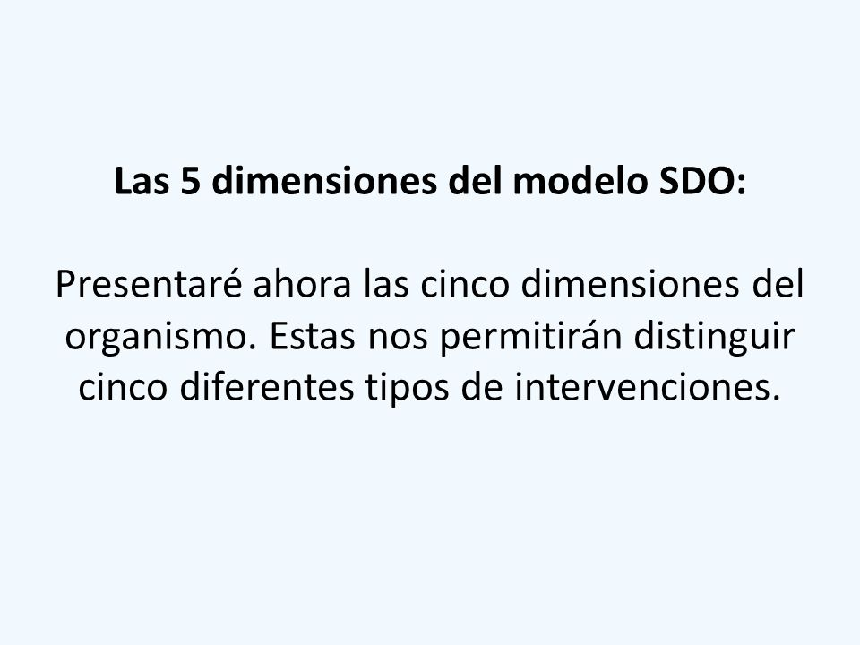 Las 5 dimensiones del modelo SDO: Presentaré ahora las cinco dimensiones del organismo.
