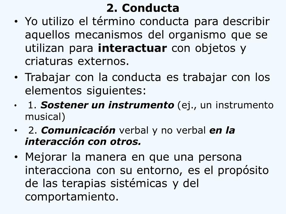 Trabajar con la conducta es trabajar con los elementos siguientes:
