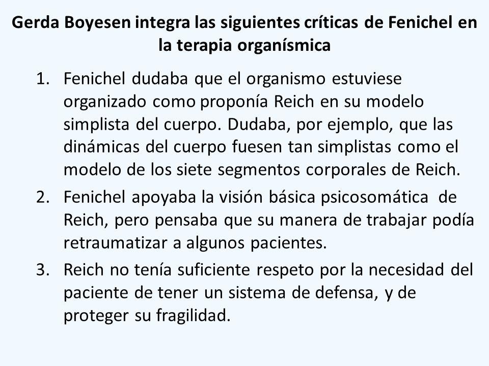 Gerda Boyesen integra las siguientes críticas de Fenichel en la terapia organísmica