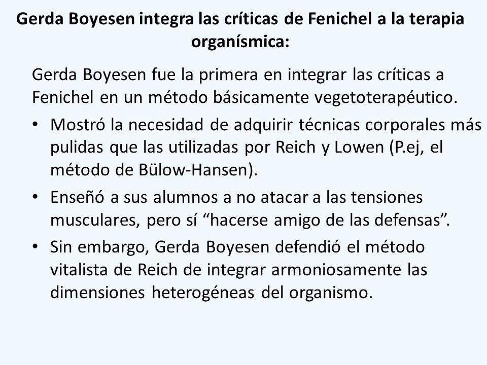 Gerda Boyesen integra las críticas de Fenichel a la terapia organísmica: