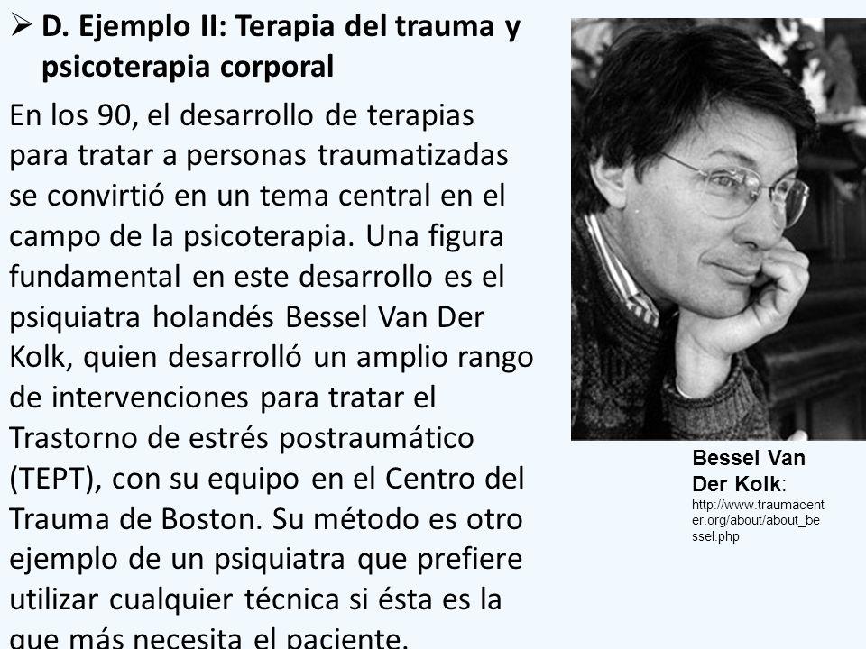 D. Ejemplo II: Terapia del trauma y psicoterapia corporal