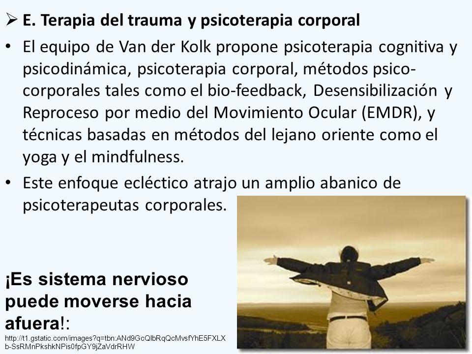 E. Terapia del trauma y psicoterapia corporal