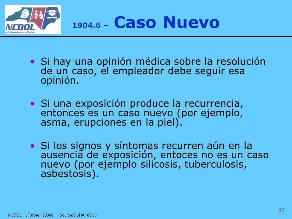 1904.6 – Caso Nuevo Si hay una opinión médica sobre la resolución de un caso, el empleador debe seguir esa opinión.