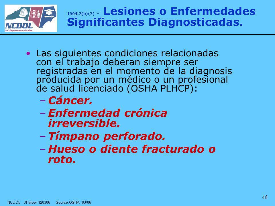 1904.7(b)(7) – Lesiones o Enfermedades Significantes Diagnosticadas.