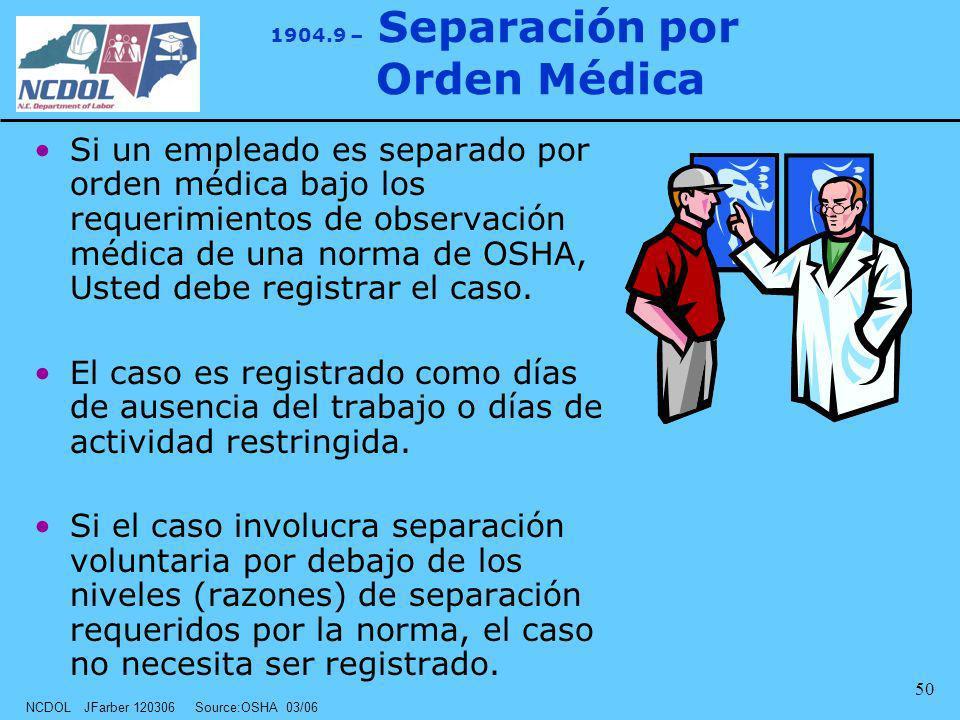 1904.9 – Separación por Orden Médica