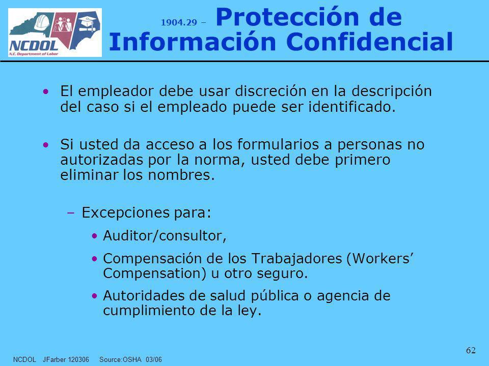 1904.29 – Protección de Información Confidencial
