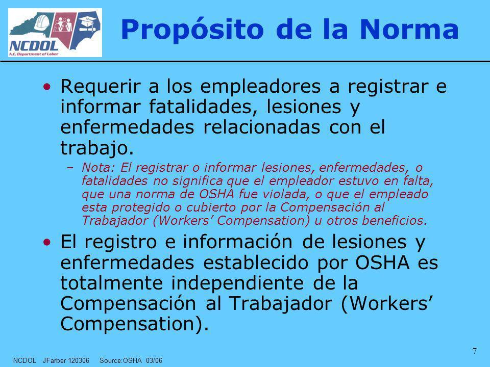 Propósito de la Norma Requerir a los empleadores a registrar e informar fatalidades, lesiones y enfermedades relacionadas con el trabajo.