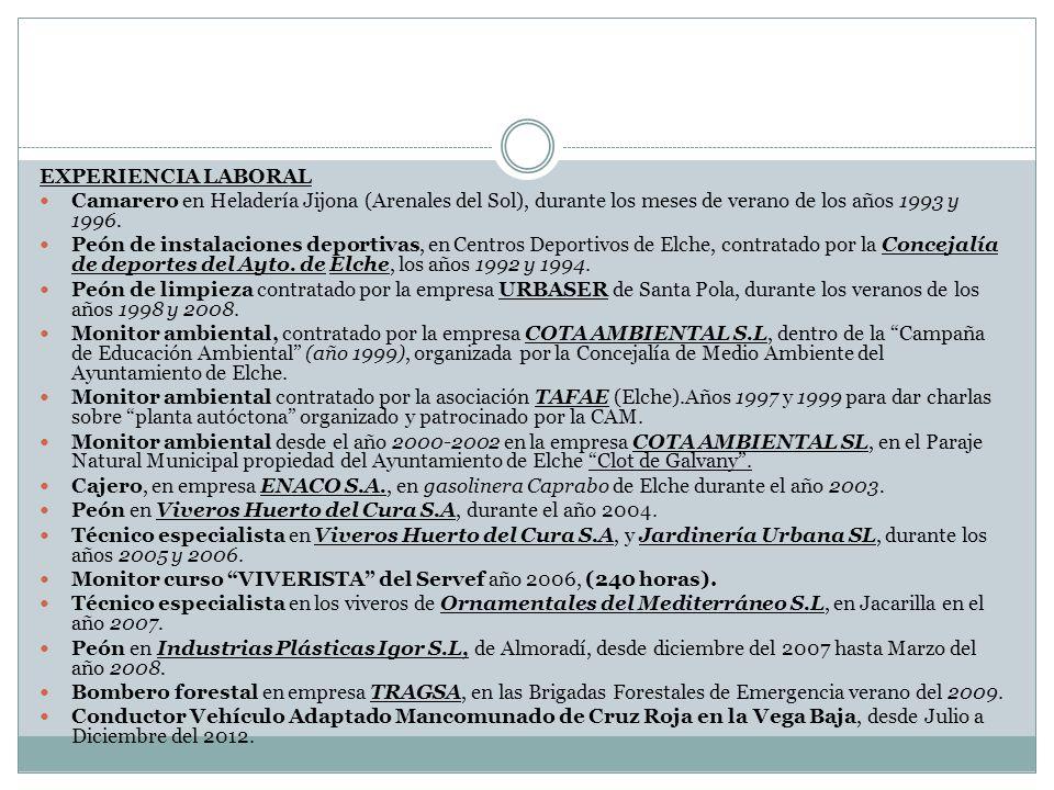 EXPERIENCIA LABORAL Camarero en Heladería Jijona (Arenales del Sol), durante los meses de verano de los años 1993 y 1996.