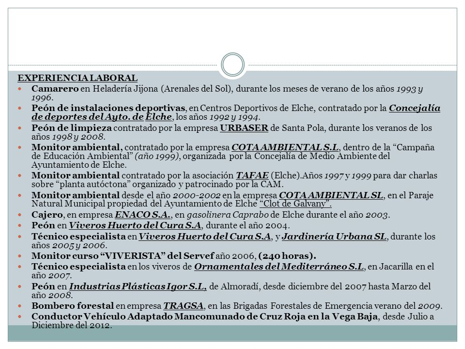 EXPERIENCIA LABORALCamarero en Heladería Jijona (Arenales del Sol), durante los meses de verano de los años 1993 y 1996.