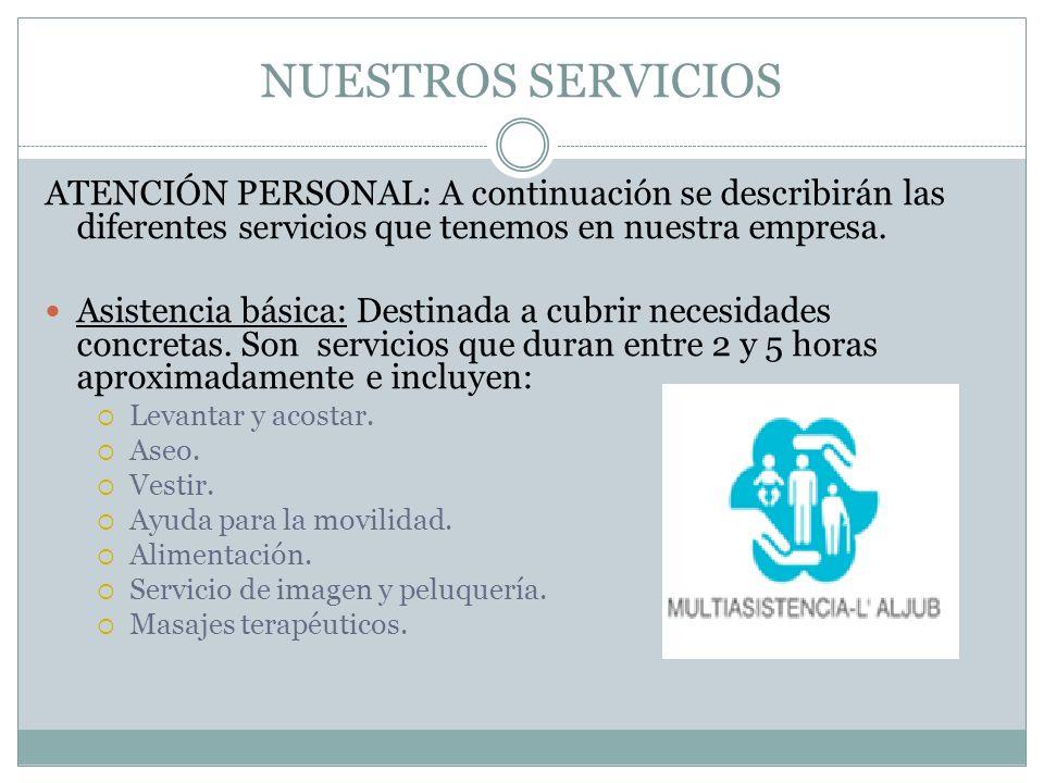 NUESTROS SERVICIOSATENCIÓN PERSONAL: A continuación se describirán las diferentes servicios que tenemos en nuestra empresa.
