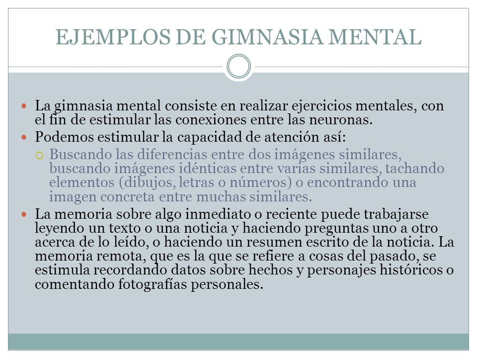 EJEMPLOS DE GIMNASIA MENTAL