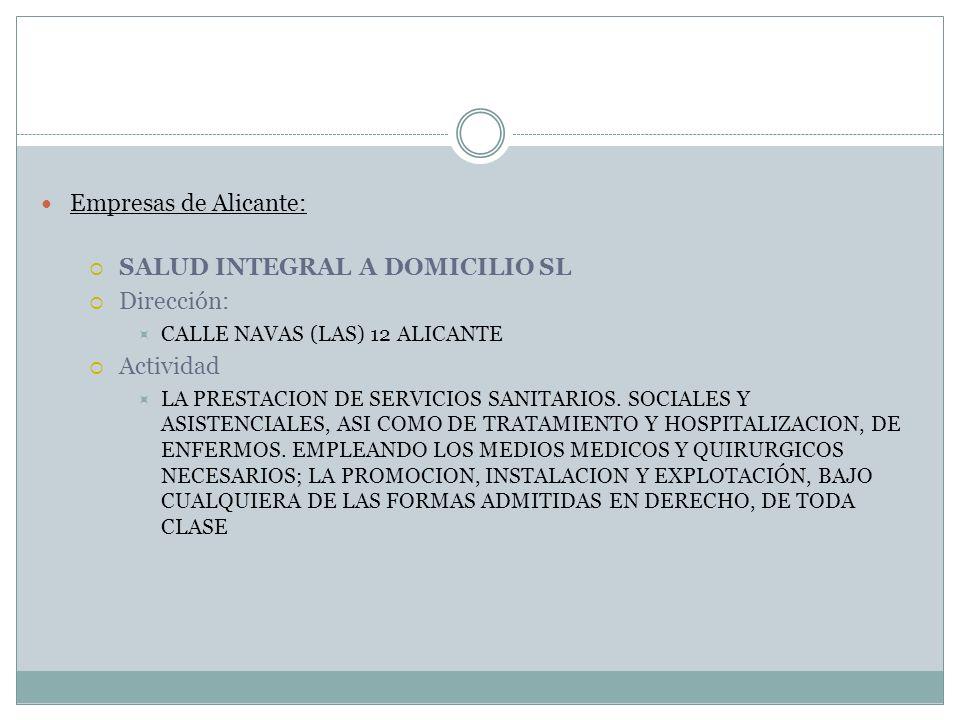 SALUD INTEGRAL A DOMICILIO SL Dirección: Actividad