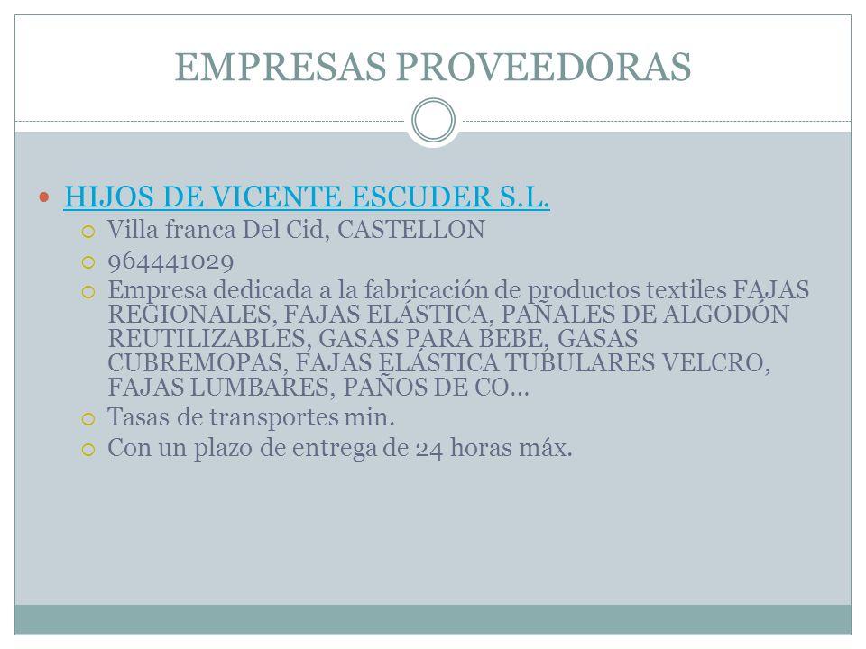EMPRESAS PROVEEDORAS HIJOS DE VICENTE ESCUDER S.L.