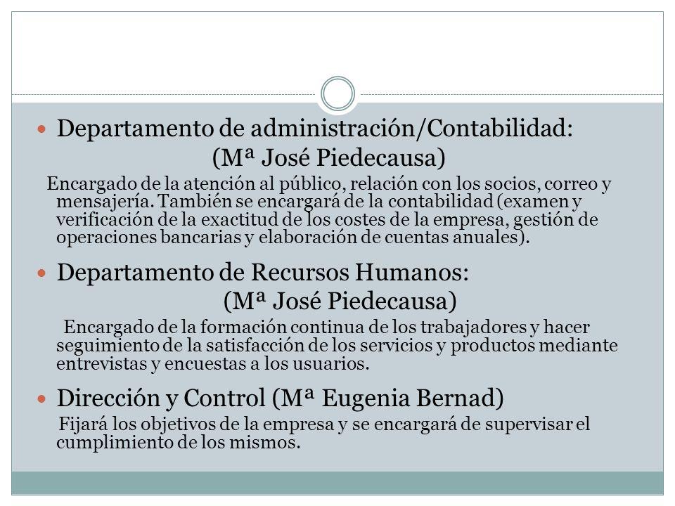 Departamento de administración/Contabilidad: (Mª José Piedecausa)