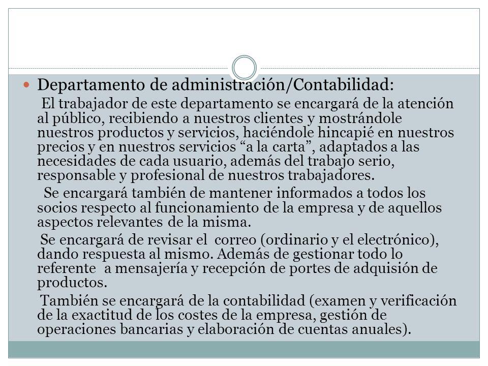 Departamento de administración/Contabilidad: