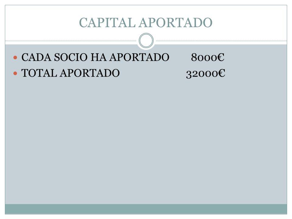 CAPITAL APORTADO CADA SOCIO HA APORTADO 8000€ TOTAL APORTADO 32000€