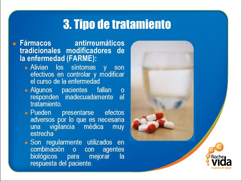 3. Tipo de tratamiento Fármacos antirreumáticos tradicionales modificadores de la enfermedad (FARME):