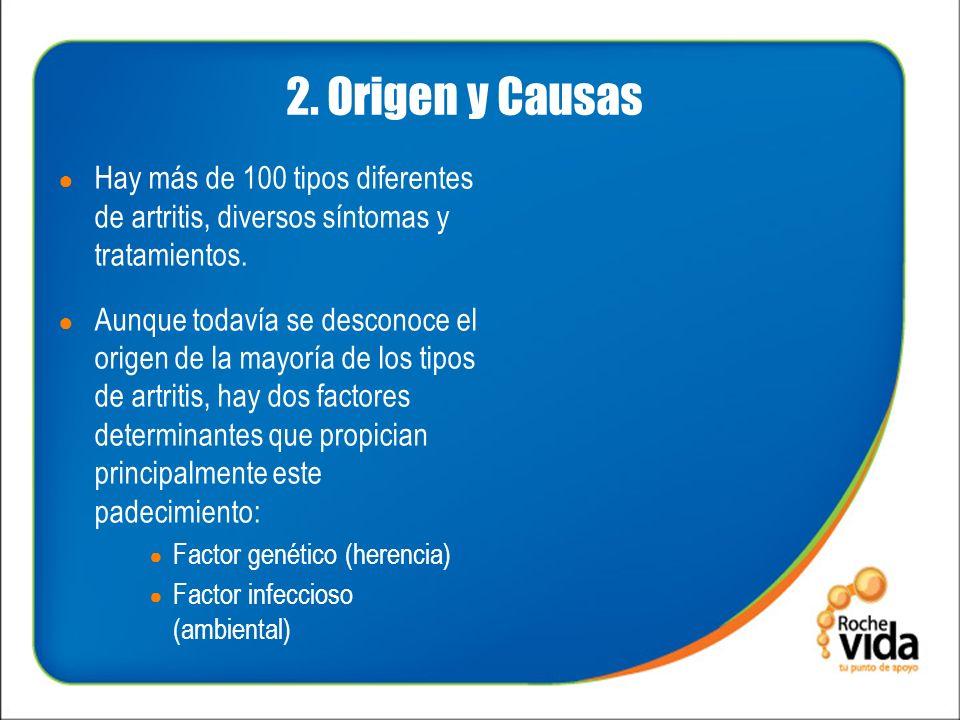 2. Origen y Causas Hay más de 100 tipos diferentes de artritis, diversos síntomas y tratamientos.