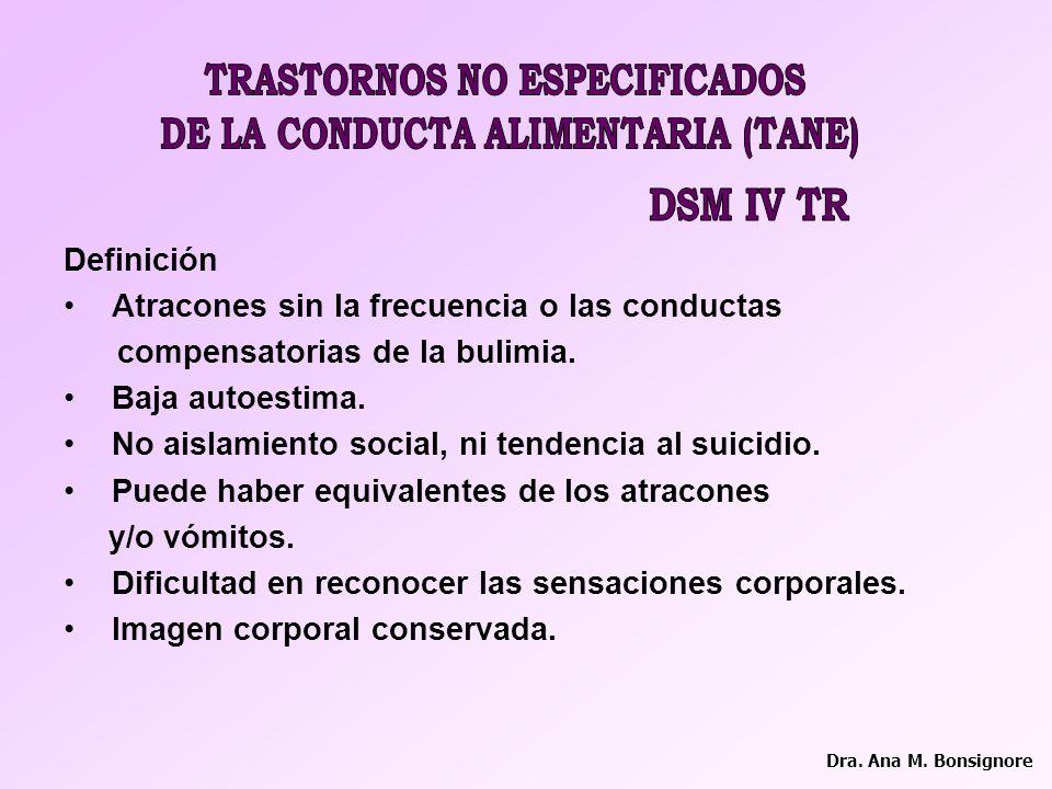 TRASTORNOS NO ESPECIFICADOS DE LA CONDUCTA ALIMENTARIA (TANE)
