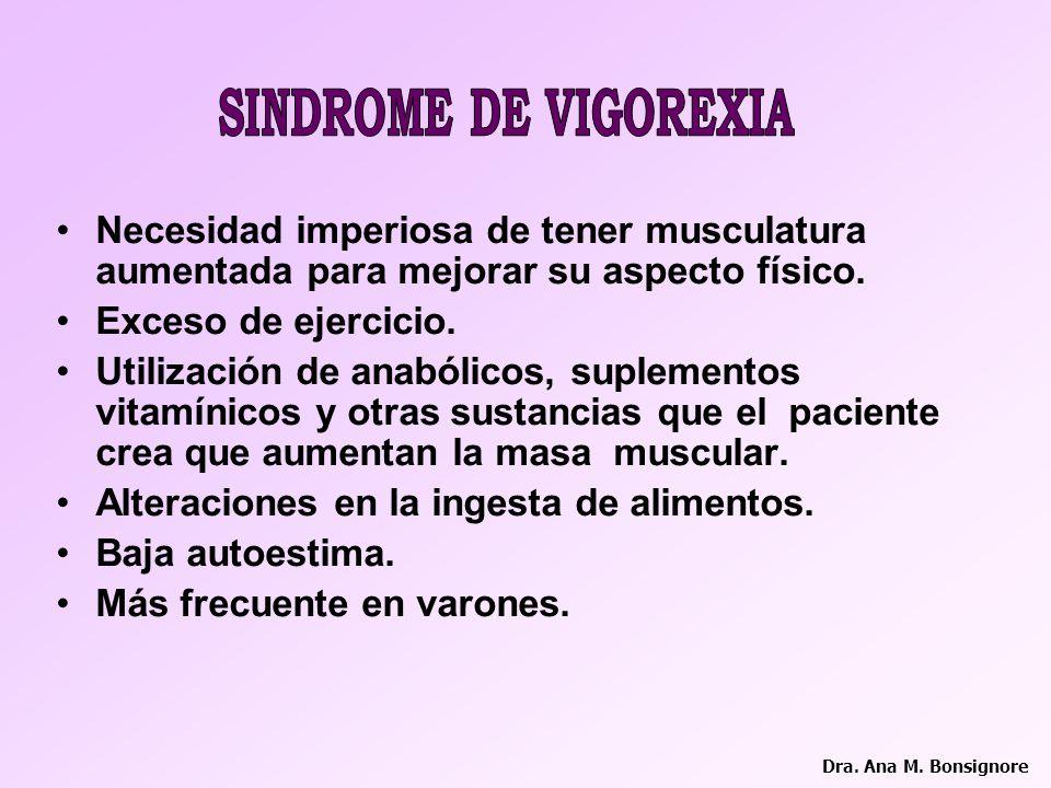 SINDROME DE VIGOREXIA Necesidad imperiosa de tener musculatura aumentada para mejorar su aspecto físico.