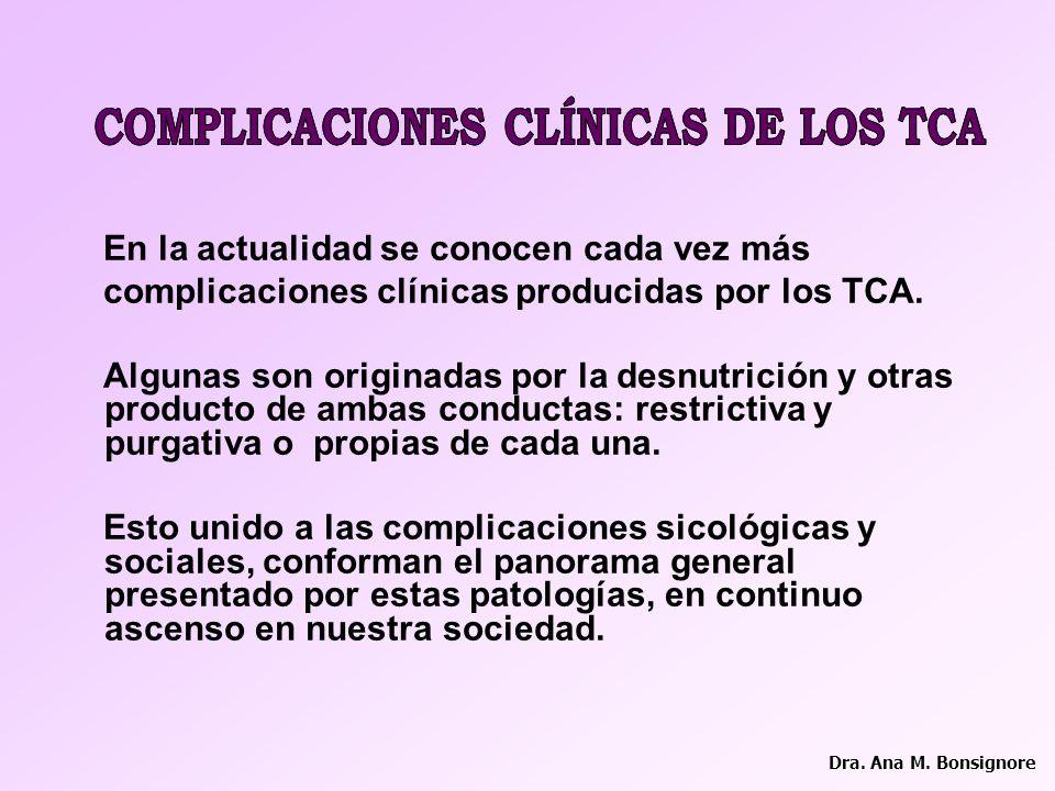 COMPLICACIONES CLÍNICAS DE LOS TCA COMPLICACIONES CLÍNICAS DE LOS TCA