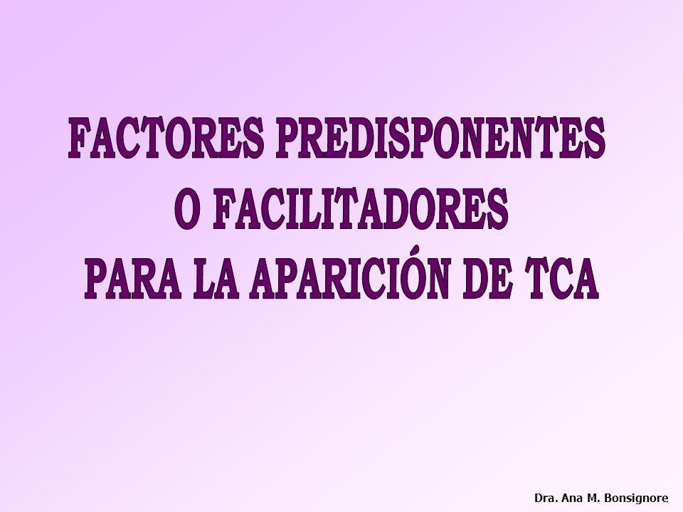 FACTORES PREDISPONENTES PARA LA APARICIÓN DE TCA