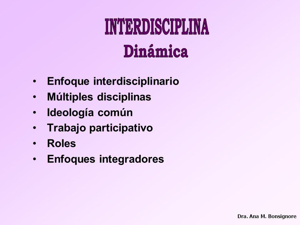 Dinámica INTERDISCIPLINA Enfoque interdisciplinario