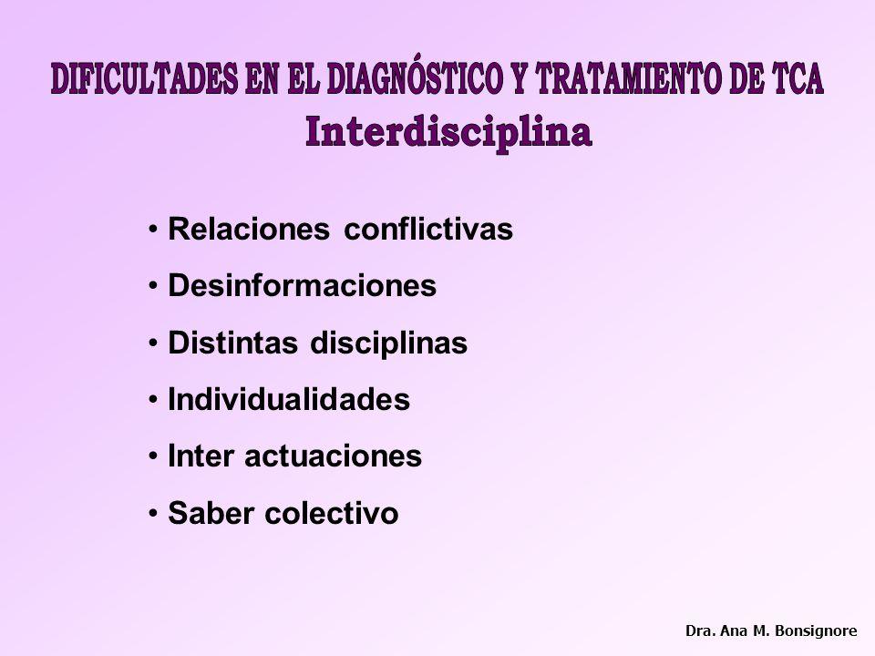 DIFICULTADES EN EL DIAGNÓSTICO Y TRATAMIENTO DE TCA