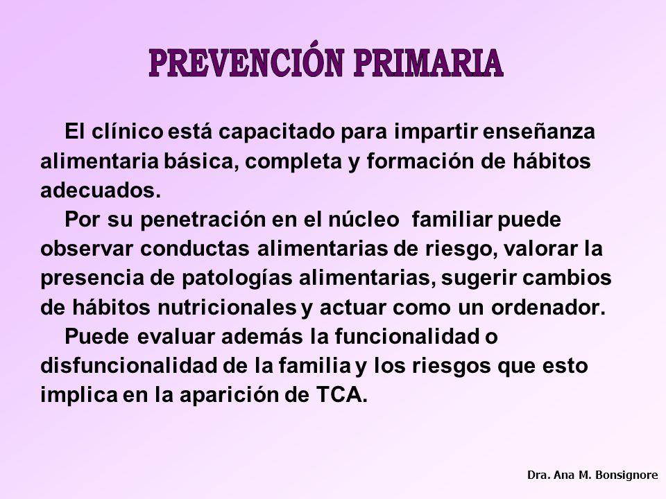 PREVENCIÓN PRIMARIA El clínico está capacitado para impartir enseñanza
