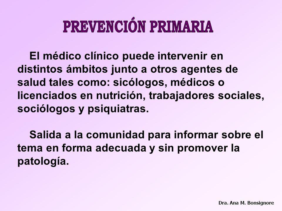 PREVENCIÓN PRIMARIA El médico clínico puede intervenir en