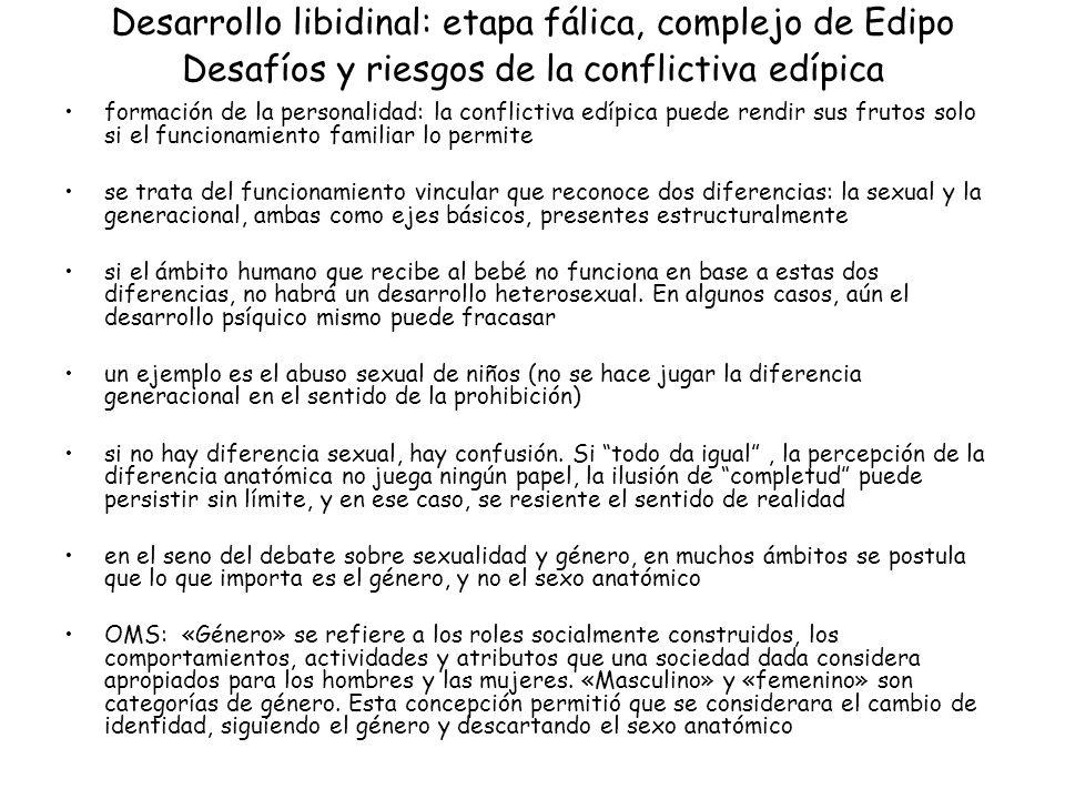 Desarrollo libidinal: etapa fálica, complejo de Edipo Desafíos y riesgos de la conflictiva edípica