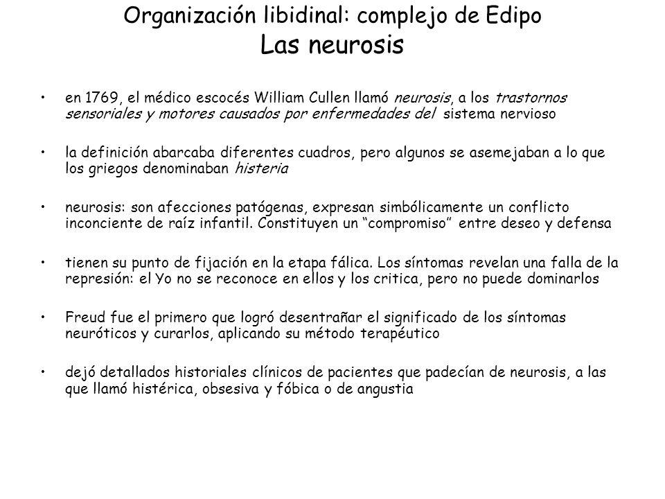 Organización libidinal: complejo de Edipo Las neurosis