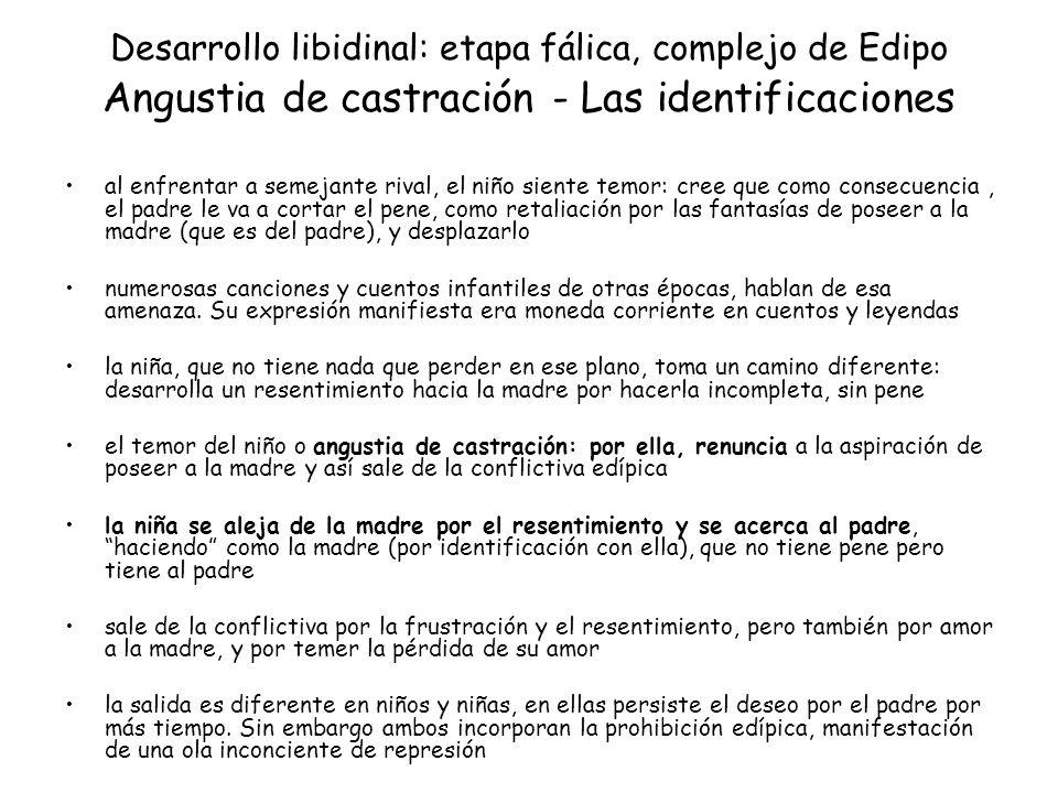Desarrollo libidinal: etapa fálica, complejo de Edipo Angustia de castración - Las identificaciones